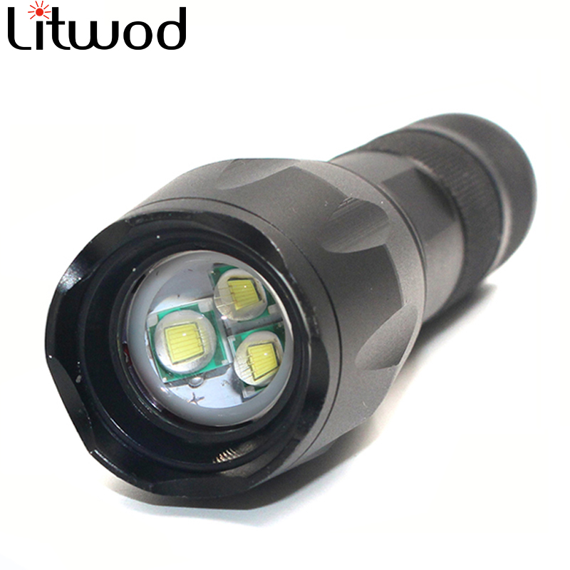 Litwod XM-L T6 Aluminum Waterproof 3 T6 Zoomable LED Flashlight Torch tactical light for 18650 Rechargeable Battery AAA cree xm l t6 bicycle light 6000lumens bike light 7modes torch zoomable led flashlight 18650 battery charger bicycle clip