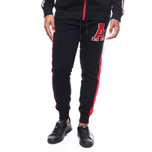 MarKyi 2019 brand new mens sweatpants joggers letter print mens cargo pants pants with side stripe mens letter print tape side sheer mesh pants
