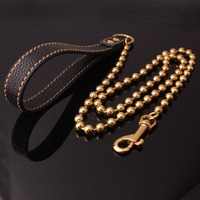 10mm 125cm Gold Tone Stainless Steel Slip Collar Beads Chain Dog Training Choke Collar Strong Traction