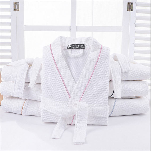 Special Offer Men Solid Color Full Sleeve 100% Cotton Sleep Lounge Robes Mens Long Dressing Gown Kimono Robes Male Bathrobes Man 1