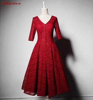 fca5f4980 Manga larga corta Encaje Vestidos de cóctel mujeres corto rojo vestido de  fiesta de graduación vestido de cóctel vestido de festa Curto coctel