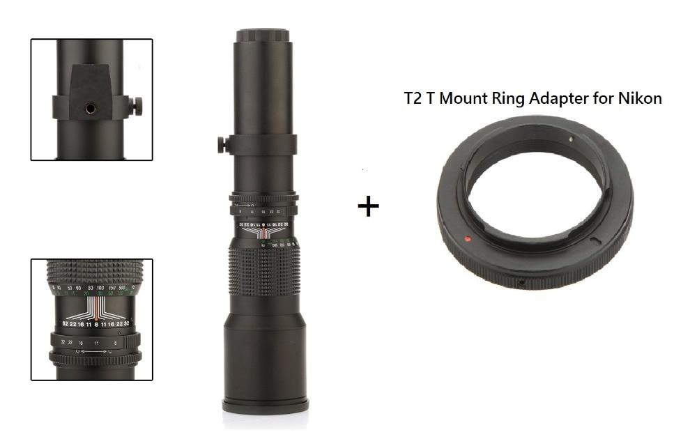 Lightdow 500mm F8.0 objektívkézikönyv Tele-zoom zoom + T2-Nikon T-tartó Nikon D5000 D7000 D7100 D800 D90 DSLR fényképezőgéphez