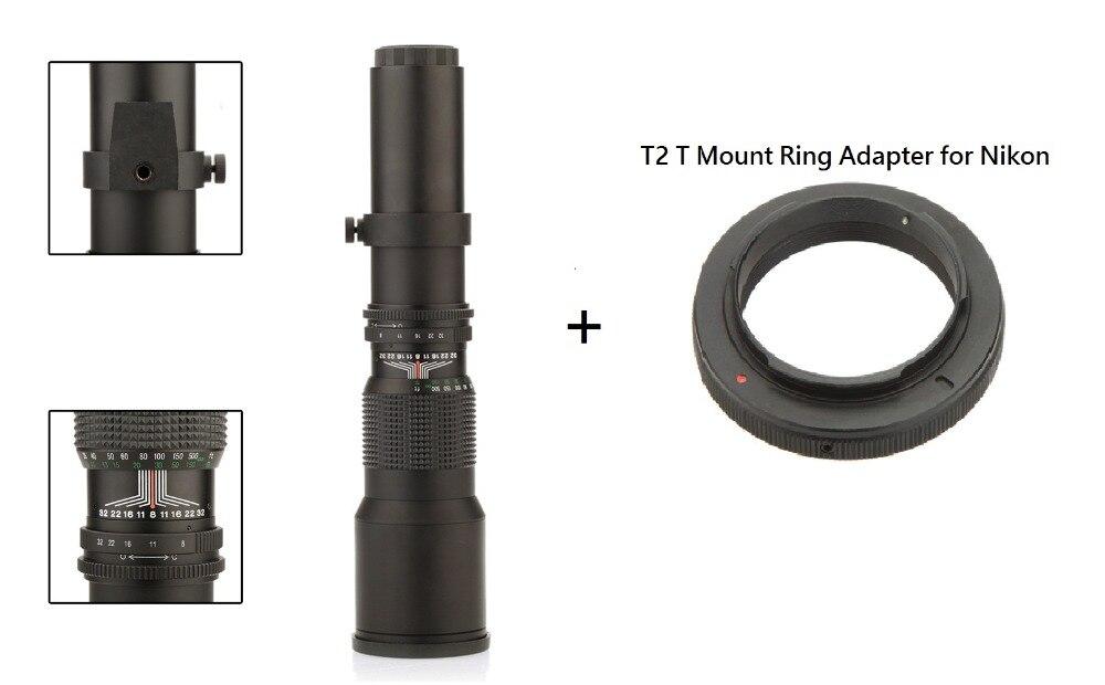 Lightdow 500mm F8.0 Ръководство за обектив Телефото Увеличение + T2-Nikon T Монтаж за DSLR камера Nikon D5000 D7000 D7100 D800 D90