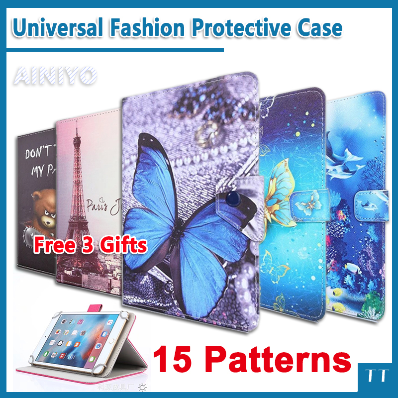 Universal Case for Lenovo Tab 4 7 Essential TB-7304 TB-7304F TB-7304I TB-7304X 7 Tablet Printed PU Leather Case cover+ 3 Gifts universal 61 key bluetooth keyboard w pu leather case for 7 8 tablet pc black