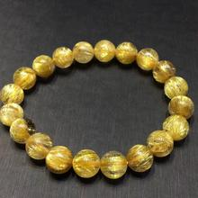 Certificate Natural Gold Rutilated Quartz Crystal Brazil Gemstone Round Beads Bracelet 10mm Jewelry Stone AAAAAA