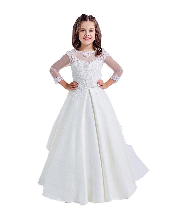 White Ivory Flower Girls Dresses For Weddings Party Gown Lace Mother Daughter Dresses Long Sleeves Girls First Communion Dresses new red champagne flower girl dresses long sleeves lace satin mother daughter dresses for children christmas party prom gown