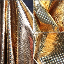 Gold 150cm PU leather fabrics with bright glazed gold laser magic cracks textiles sewing sequin tulle dress african fabric C634