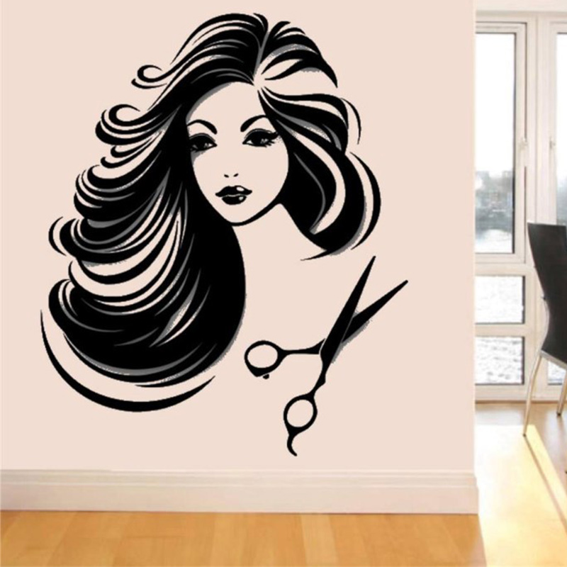 Hair salon girl vinyl wall decal sexy girl beauty shop for Salon pictures for wall