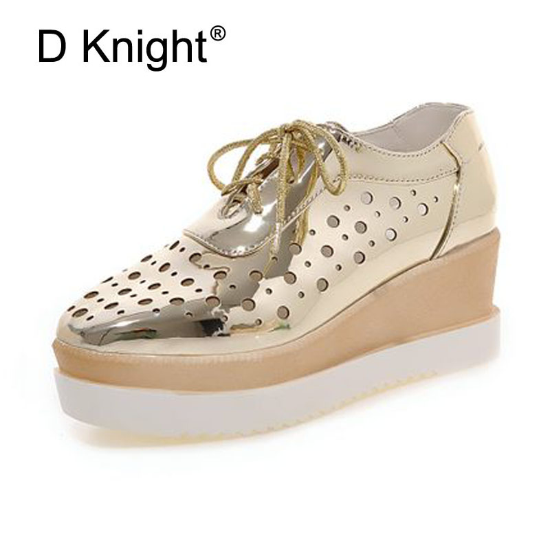Women Platform High Heels Casual Shoes Fashion Bling Metallic Wedges Shoes For Women Breathable Cut-ous Women Pumps Size 34-43 ladies casual platform wedges oxford shoes for women metallic pu cut outs women high heels summer brogue oxfords shoes woman