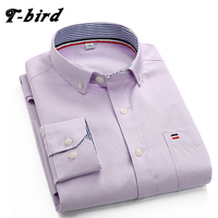 T Bird Shirt Men Cotton Long Sleeve Brand Shirt Oxford Dress Shirt Camisa Masculina Casual Solid