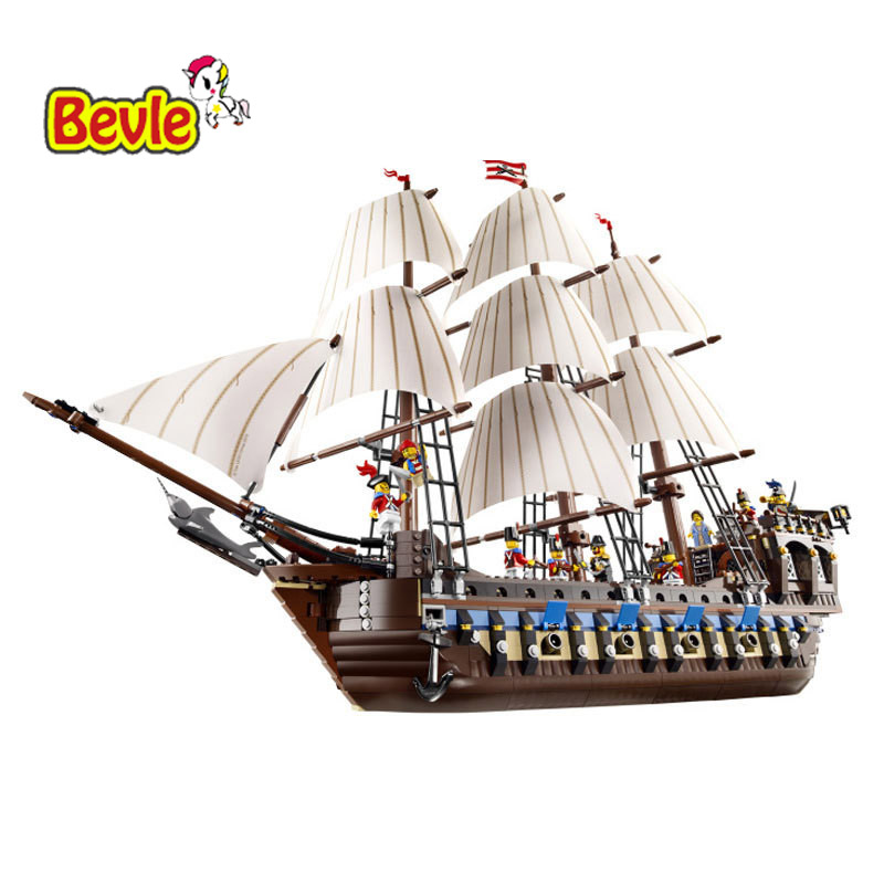Lepin 22001 1717pcs Pirate Ship Imperial Warships Model Building Blocks Toy Compatible With Legoe Pirates Caribbean 10210 cl fun new pirate ship imperial warships model building kits block briks boy toys gift 1717pcs compatible 10210