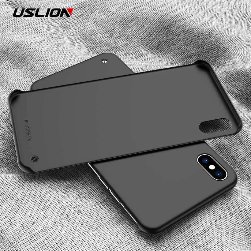 Uslion Siêu Mỏng Mờ Không Khung Ốp Lưng Điện Thoại Iphone 11 Pro Max XS Max XR X 6 6 S 7 8 Plus Kẹo Cứng Nhám Lưng PC