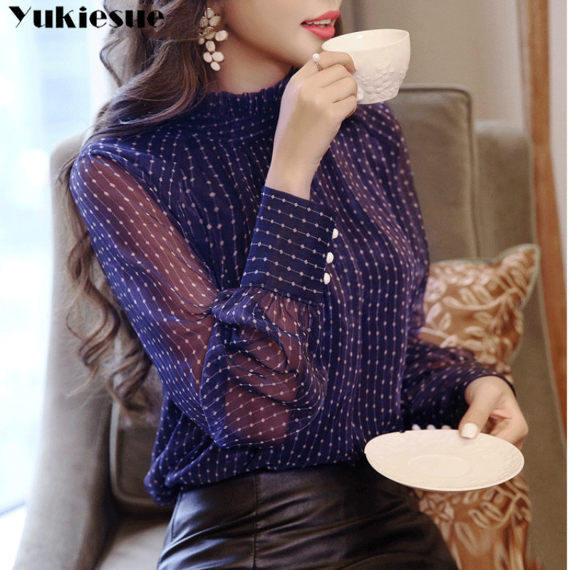 2019 summer woman top blusa mujer lace chiffon blouse women shirt long sleeve womens tops and blouses ladies plus size 1