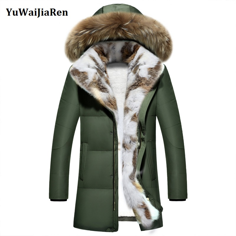 Новая мода Мужская одежда ветрозащитный Мужские парки зимние теплые куртки толстый искусственный кролик меховой воротник зимнее пальто Дл...