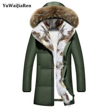 New Fashion Men's Clothing Windproof Parkas Winter Warm Jackets Thick Faux Rabbit Fur Collar Winter Coat Men Trend Hooded Parka