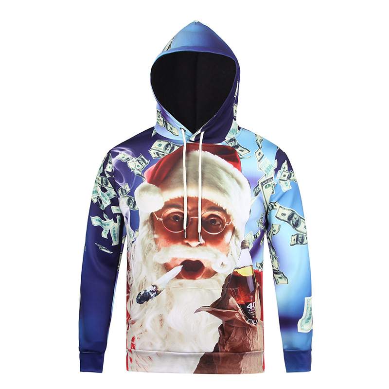 New Fashion Christmas Style Hoodies Men/Women Print Funny Santa Claus 3D Sweatshirts Couples Hooded Pullovers Tops