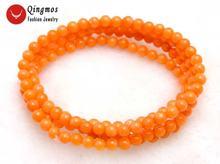 Женский браслет qingmos длинное колье с круглым оранжевым кораллом