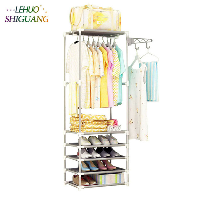 Genial Multilayer Coat Rack Stainless Steel Nonwovens Simple Shoe Rack Assembly  Bedroom Hanging Storage Clothes Hanger Wardrobe