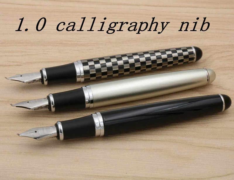 JINHAO X750 Padrão vermelho escuro acessórios de Prata Guarnição Caligrafia Nib Fountain Pen
