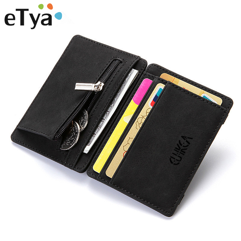 eTya Fashion Men Slim Wallet Leather Male Business Credit Card Holder Coin Pouch Bag Female Purses Clutch Zipper Small Wallets image