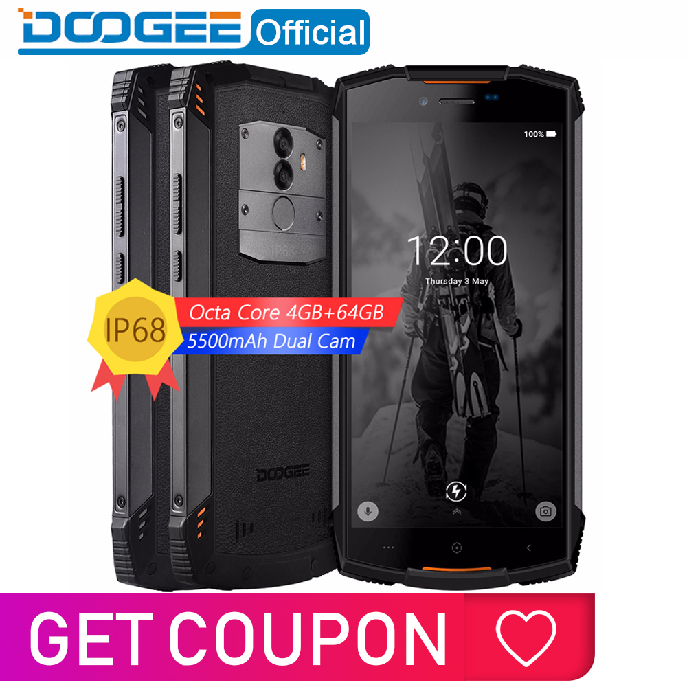 Real IP68 S55 DOOGEE Smartphones à prova d' água MTK6750T 64 4GB RAM GB ROM 5500mAh Octa Core 5.5 polegada Android 8.0 Dual SIM 13.0MP 4 4GLTE