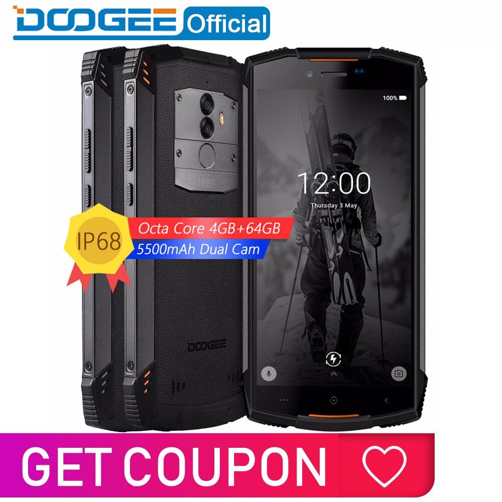 Véritable Smartphone étanche IP68 DOOGEE S55 4GB RAM 64GB ROM 5500mAh MTK6750T Octa Core 5.5 pouces Android 8.0 double SIM 13.0MP 4GLTE