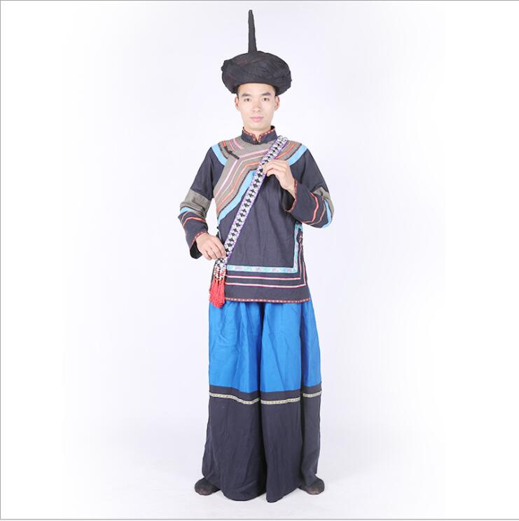 YunNan GuiZhou Province Black Yi Outfit Male Yi Nationality Dance Costume Chinese Ethnic Minority Dance Cothing Ethnic Costume
