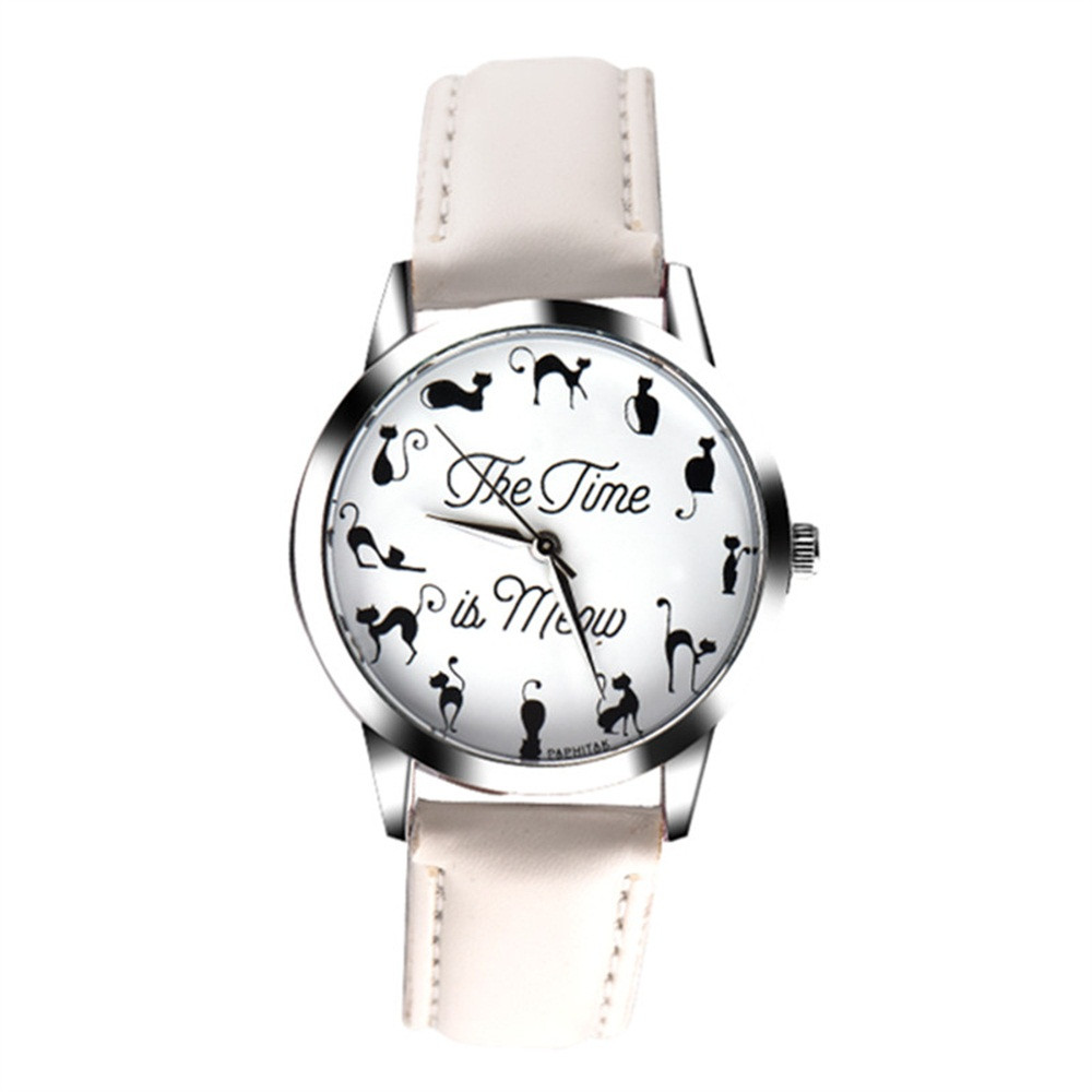 New Arrival Fashion Women's Watch Cute Cat Printing Casual Ladies Quartz Wristwatches Leather Strap Girl Watch Clcok Gift Fi