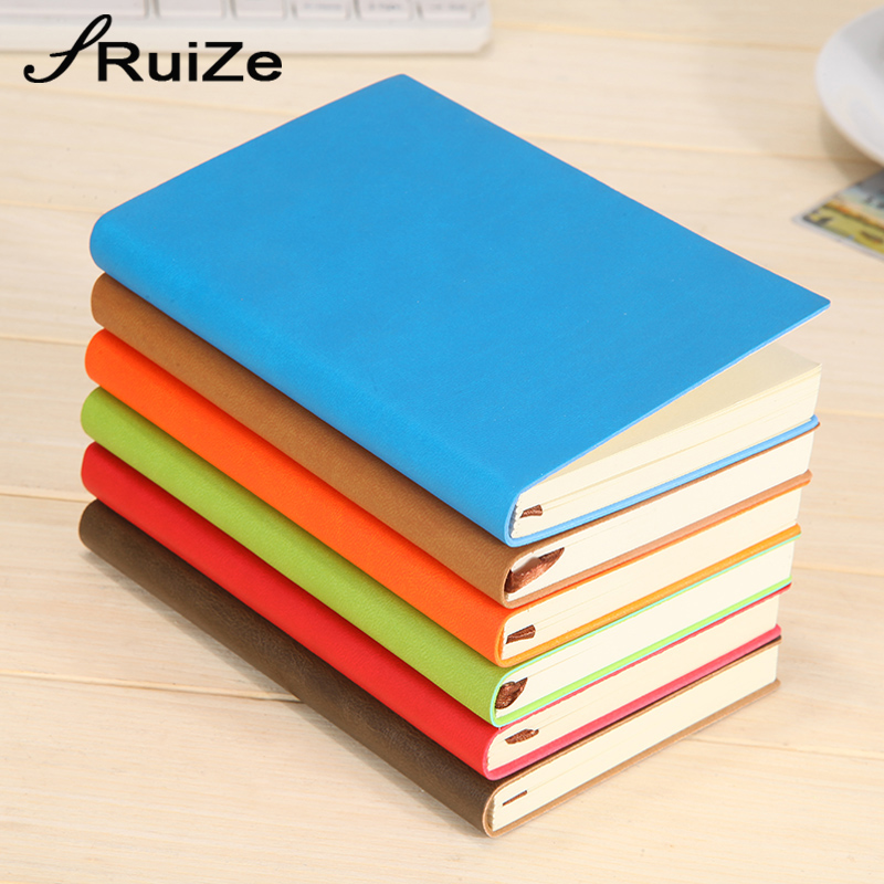 RuiZe 2018 soft cover faux Leather pocket notebook A7 kecil notepad mini kertas nota buku dengan alat tulis kreatif line