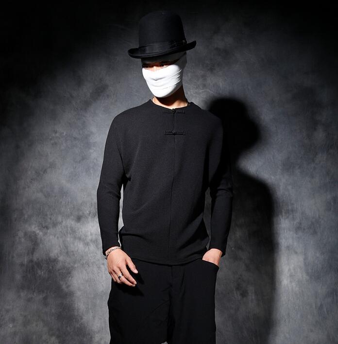 Vintage style chinois mâle à manches longues T-shirt hommes all-match basique chemise mâle personnalité plaque boutons lâche T-shirt hommes noir