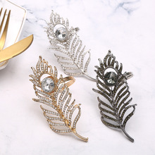 10pcs metal alloy feather napkin ring banquet