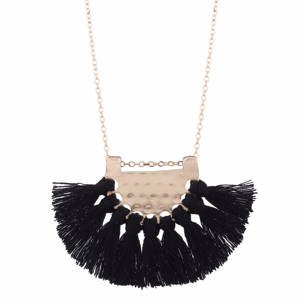 LZHLQ Long Tassel Necklace For Women Maxi Statement Fashion Jewelry Cute Lovely Necklace Black Red White