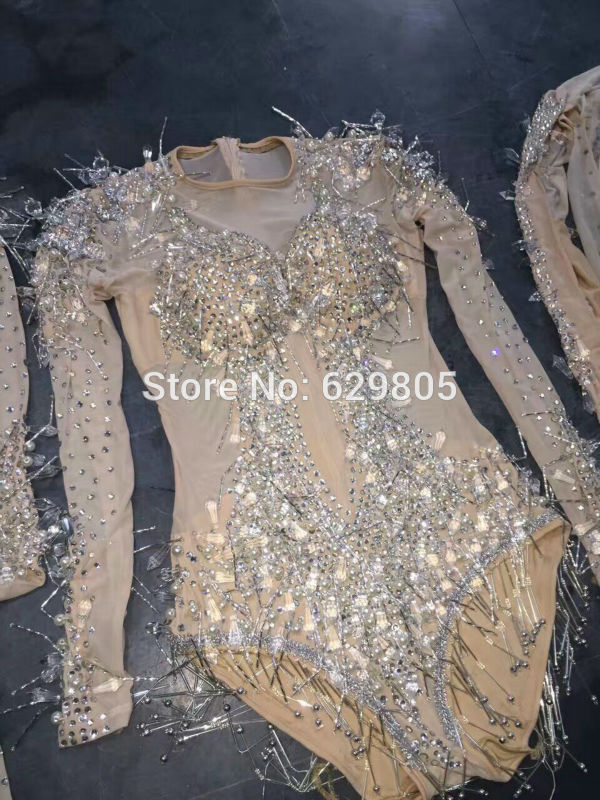 3fb2471b730a Sexy Crystals Sparkly Jumpsuit Shining Diamond Outfit Women Female Singer  Dance Wear Stage Rhinestone Costume Nightclub Dress-in Chinese Folk Dance  from ...
