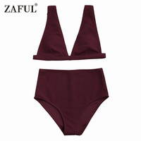 CharMma 2017 New Women High Waisted Textured Plunge Bikini Set Deep V Sexy Pure Color Wire