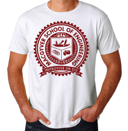Official Licensed Macgyver School Of Engineering Men/'s T-Shirt S-3XL Sizes