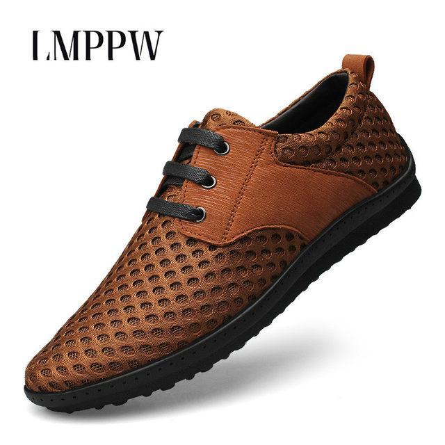 202521d84646 New 2018 Summer Air-permeable Net Shoes Men s Mesh Shoes Fashion Lace Up  Casual Shoes Comfortable Men Flat Shoes Black Brown 2.5