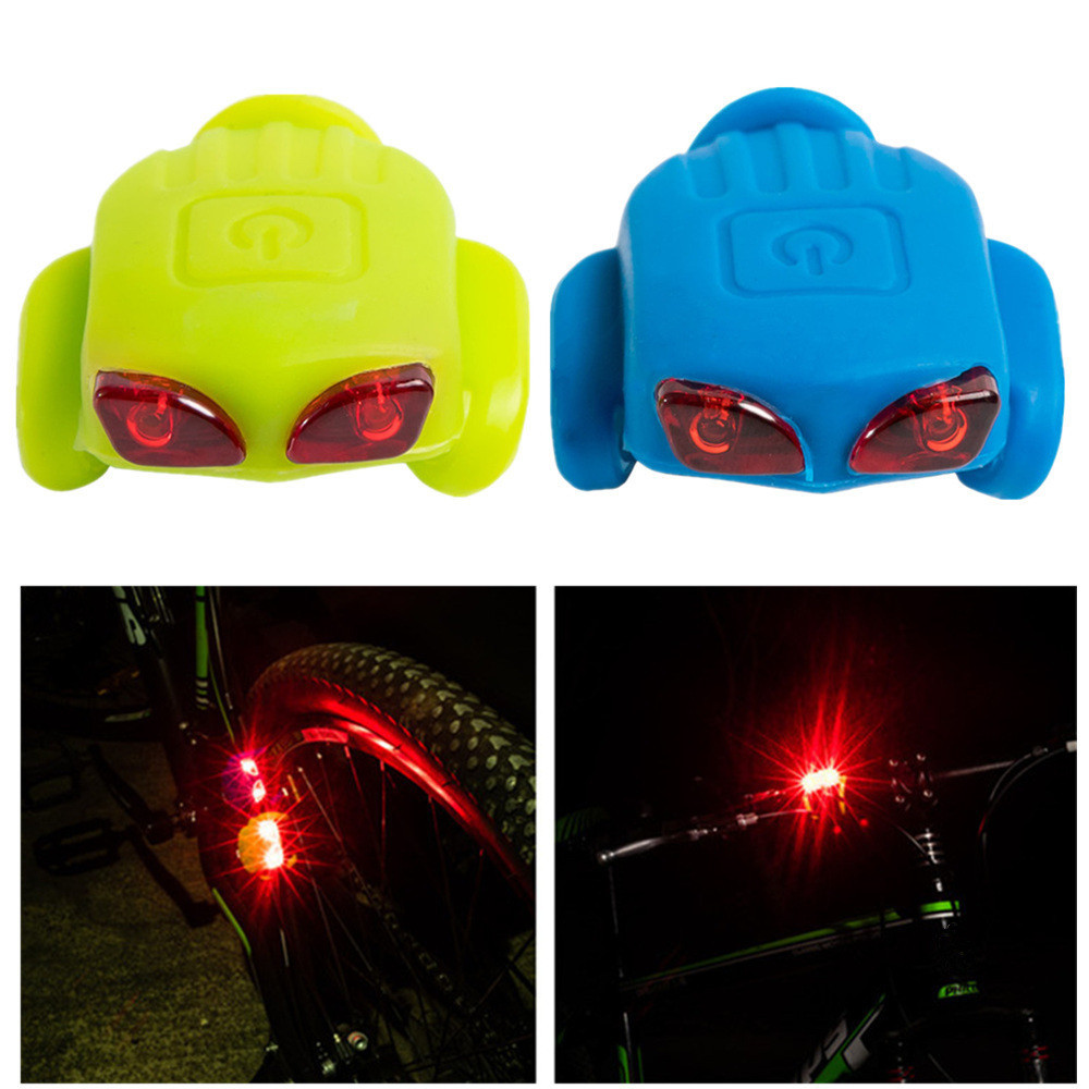 2 X GREEN LED SILICONE BIKE BICYCLE CYCLE FRONT REAR CAMPING BACKPACK LIGHT