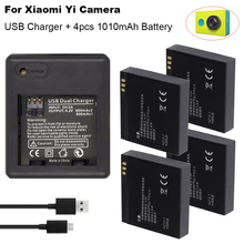 цена на 4PCS For Xiaomi yi battery 1010mAh xiaoyi bateria + xiaoyi USB Dual charger For xiaomi yi action camera xiaomi yi accessories