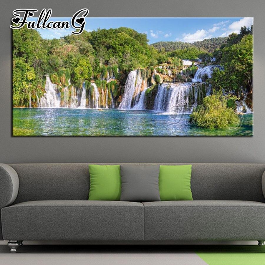 FULLCANG полная квадратная/круглая дрель diy большая алмазная живопись природный пейзаж 5d мозаика вышивка водопад озеро Декор FC988