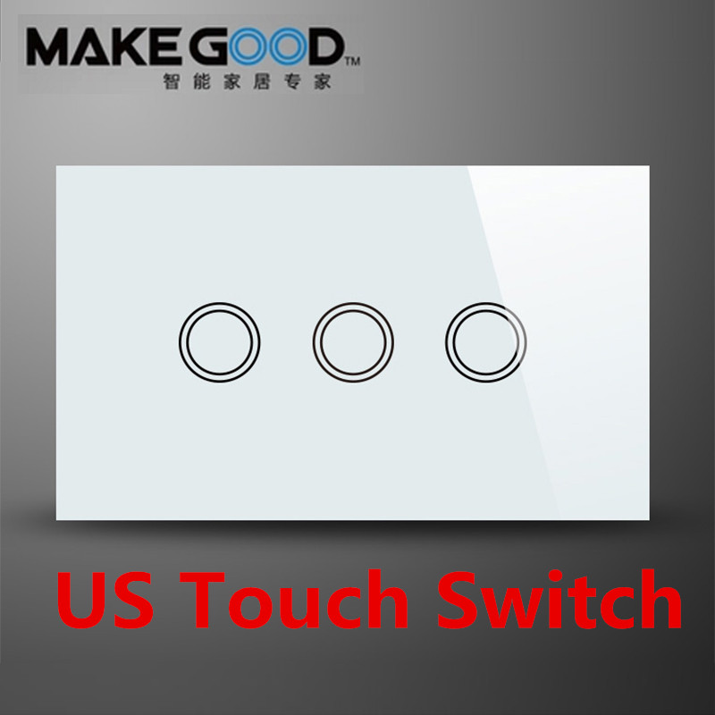 MakeGood US Standard Touch Wall Switch 3 Gang 1 Way, Black and White Crystal Glass Panel Touch Light Switch AC 110-240V 2017 smart home crystal glass panel wall switch wireless remote light switch us 1 gang wall light touch switch with controller