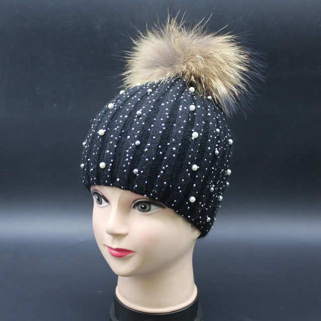71dc2e8dbfbd2d super cute crystal inlay pearl delicate knitted pom pom hat genuine raccoon  fur warm knitted pom