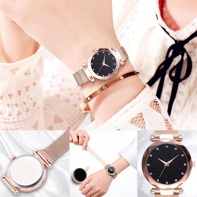 Luxury Diamond Rose Gold Women Watches Fashion Ladies Starry Sky Magnetic Watch Casual Mesh Steel Rhinestone Female Wristwatch 4