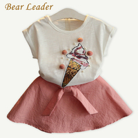 Bear Leader Girls Clothing Sets 2017 New Summer Style Kids Clothing Sets Ice Cream Pattern T