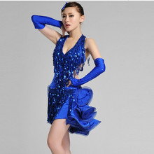 Limited offer girl Tuxedo Latin dance dress customize woman blue/red tassel sequined Rumba Samba tango dance competition dress