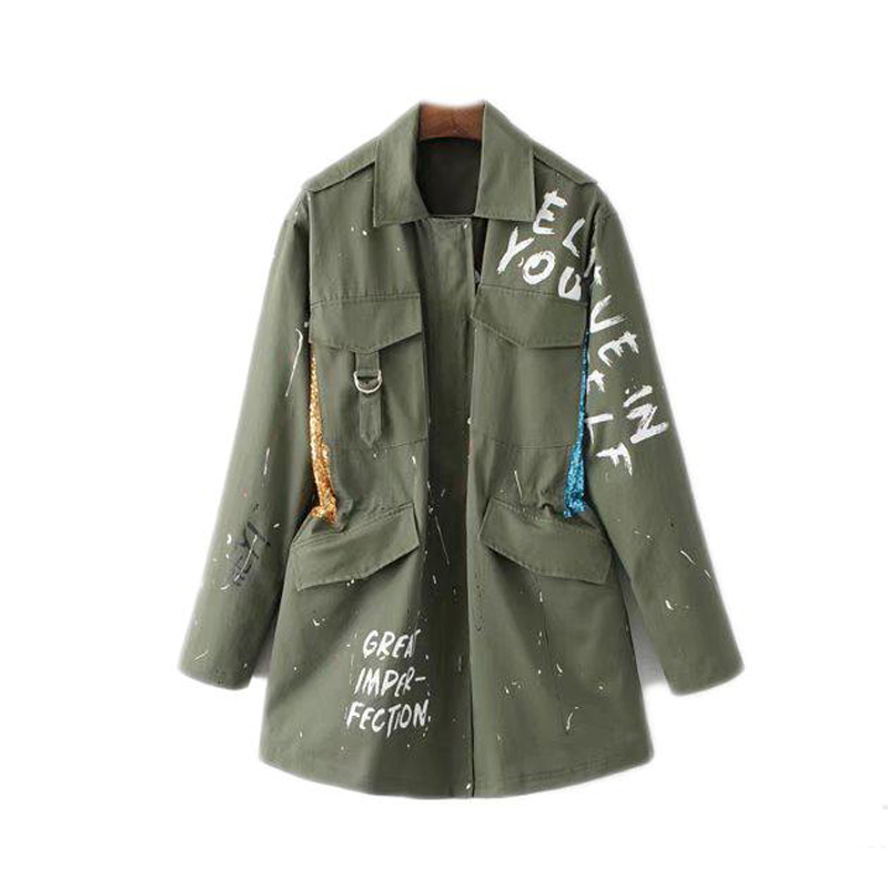 2018 European Style Sequins Decorative Letters Graffiti Women Basic Coats Fashion Embroidered Female Army Green Jacket TOP Y1127