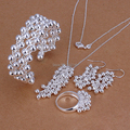 Factory price top quality Silver Plated & Stamped 925 nice Grape earrings+bracelet/bangle+ring+necklace  set 4pcs