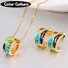 TOP Quality Small Enamel Jewelry Sets Women Elegant Color Design Jewelry Saudi gold Necklac Wedding jewelry