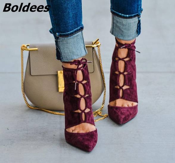 Awesome Burgundy Suede Hollow-out Pumps Women Sexy Pointed Toe Lace Up Thin High Heels Stylish Rope Cross Strap Shoes HotSelling stylish v neck long sleeve hollow out cover up for women