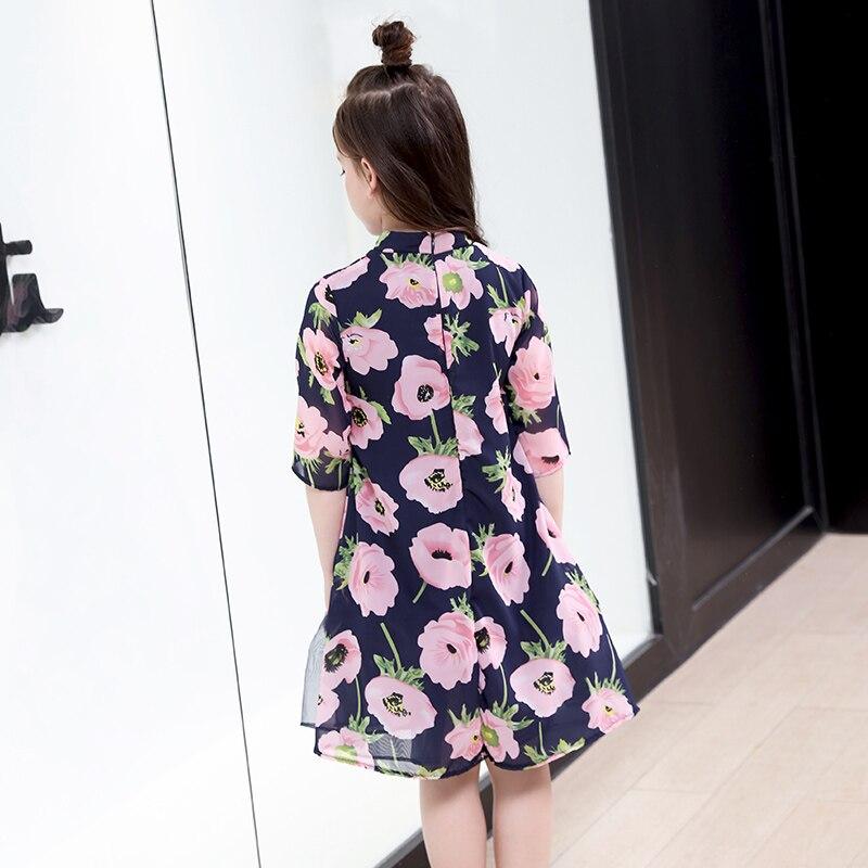 Fleur filles robe d'été mode adolescente enfants princesse vêtements enfants fête vêtements à manches courtes robe florale pour les filles - 2