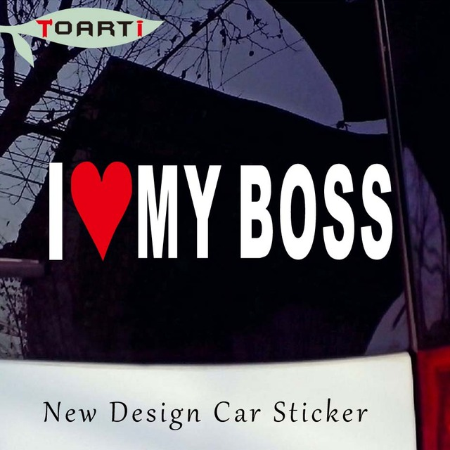 185CM I Love My Boss Sticker Funny Window Joke Vinyl Car Stickers Bumper Hugo